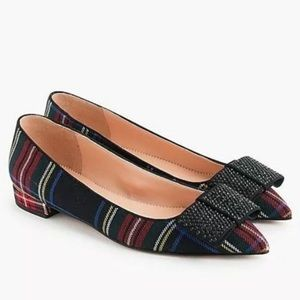 J. Crew | Tartan Plaid Ballet Flats with Jewel Bow